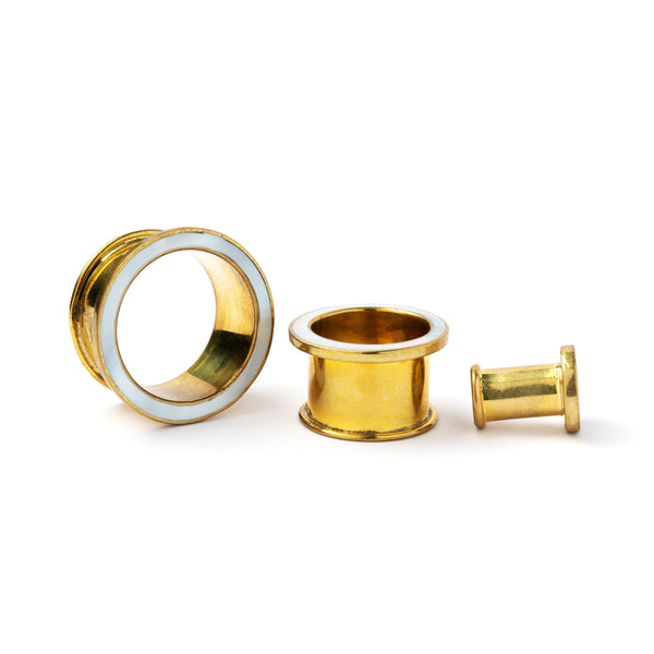 Brass Flesh Tunnel With Mother Of Pearl