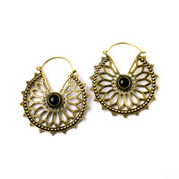 Brass Floral Hoops with Onyx