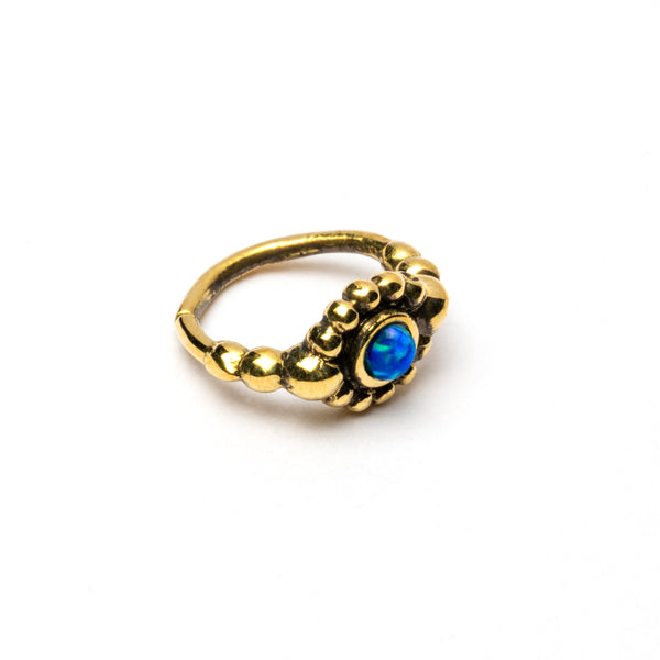 Brass Nose Ring  With Set Blue Opal