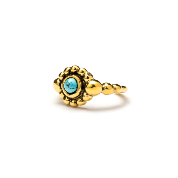 Brass Nose Ring  With Set Turquoise