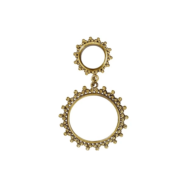 Brass Dotted Tunnel Earring