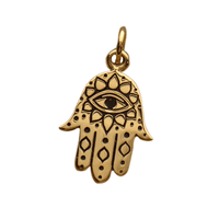 Bronze Hamsa hand with Evil Eye Necklace