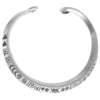 Adjustable Tribal Silver Cuff  with Etchings