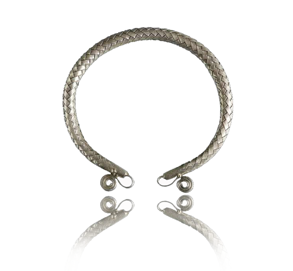 Tribal Silver Braided Silver Cuff