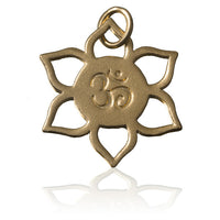 Gold Plated Ohm Flower Charm Pendant - Tribu