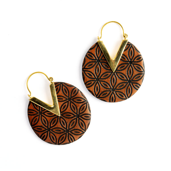 Carved Ebony Wood and Bronze Earrings