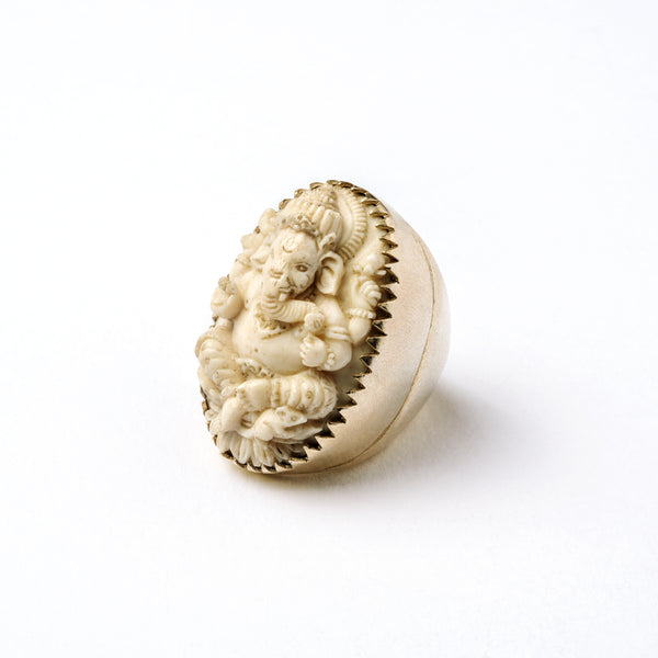 Carved Ganesh Silver Ring | Tribu Tribal Jewellery London