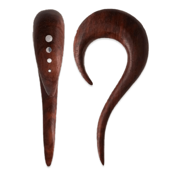 Curvy Rose Wood Ear Stretcher with Silver Dots