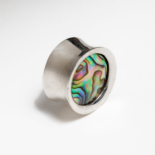 Silver Plated Abalone Shell Ear Plugs