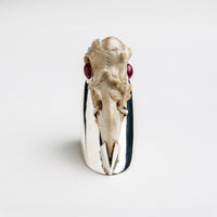 Raven Skull on chunky silver ring