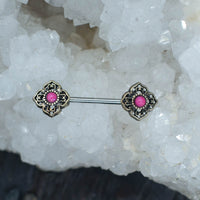 Surgical Steel Nipple Barbell With Pink Stone