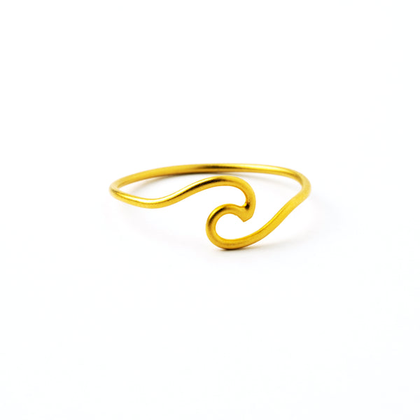 Dainty 24K Gold Plated Sterling Silver Dainty Wave Ring.