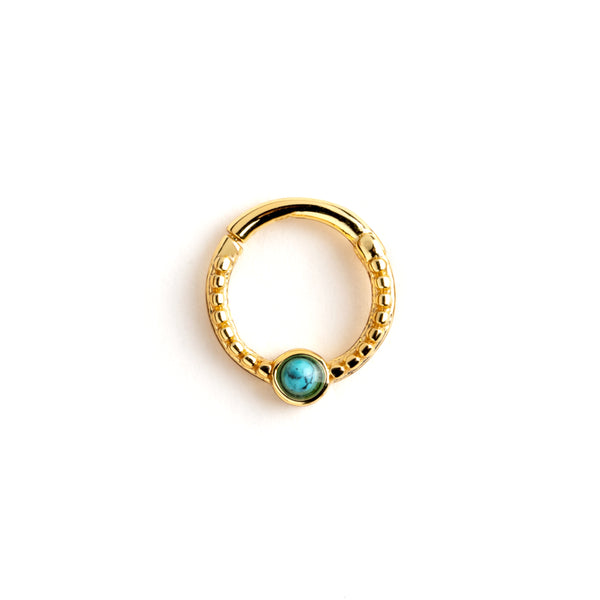 Gold Dayaa Septum Ring with Turquoise