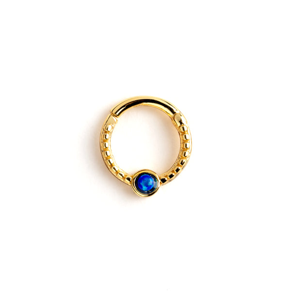 Gold Dayaa Septum Ring with Blue Opal