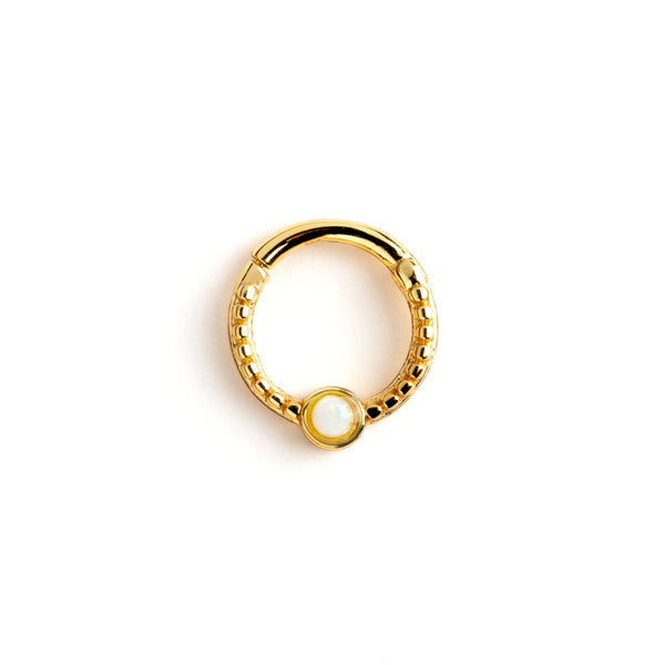 Gold Dayaa Septum Ring with White Opal