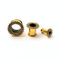 Double Dot Brass Flesh Tunnel / Ear Gauges / Ear Stretchers / Plug Earrings / Plugs / Tunnels / Plug Tunnels / Ear Tunnels / Screw Plugs / Brass Plug Tunnels / Brass Gauges / Brass Plugs / Brass Tunnels / Gauge Jewellery