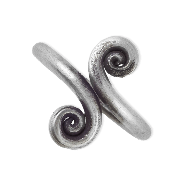 Double Spiral Tribal Silver Ring