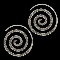 Hammered Spiral Tribal Silver Earrings
