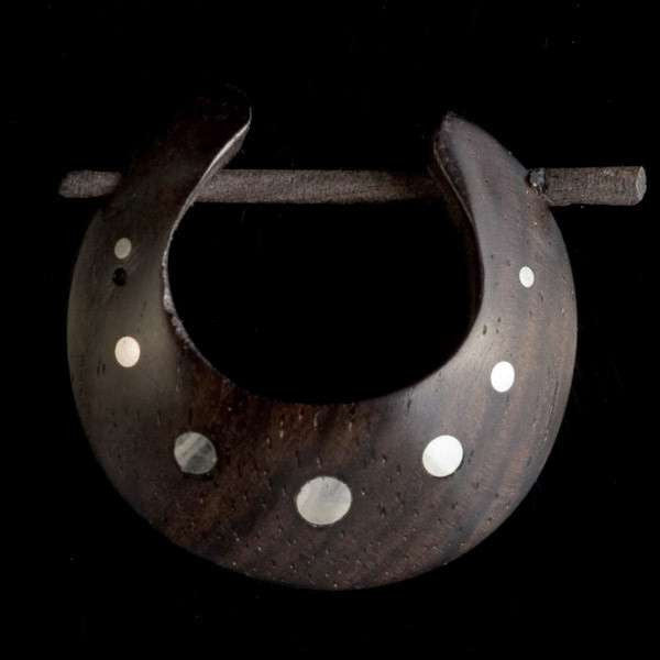 Silver Doted Wood Hoop Earrings - Tribu