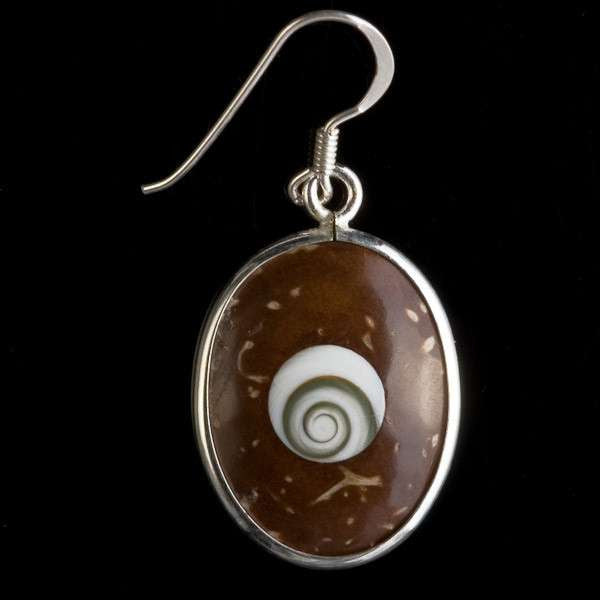 Oval Shaped Coconut Earrings With A Shiva Eye's Set - Tribu