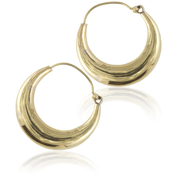 Brass Indian Hoop Earrings - Tribu  - 1