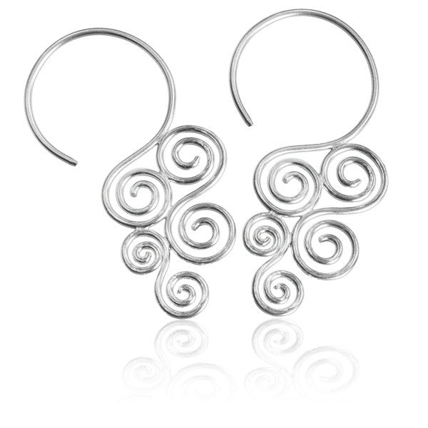 Sterling Silver Cascading Swirl Hook Earrings - Tribu