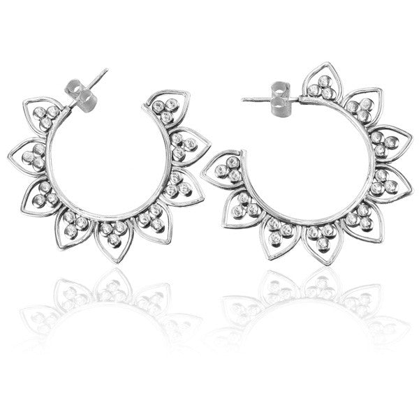 Sterling Silver Hoop Earrings with Lotus Petals Decoration - Tribu