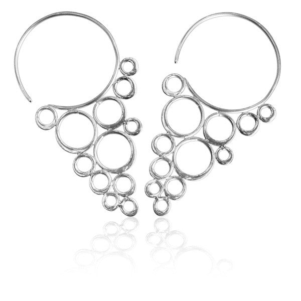 Sterling Silver Cascading Circles Hook Earrings - Tribu