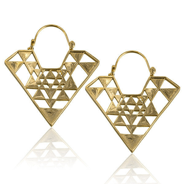 Triangle Sri Yantra Brass Hoop Earrings - Tribu  - 1