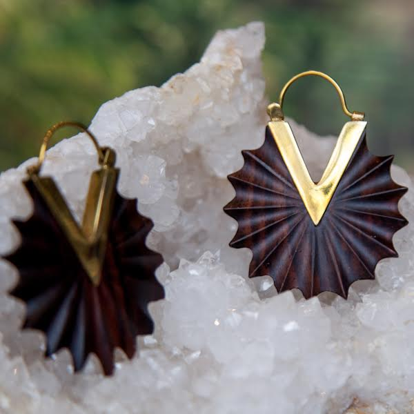 Sunfeather Wood and Brass Spiral Earrings