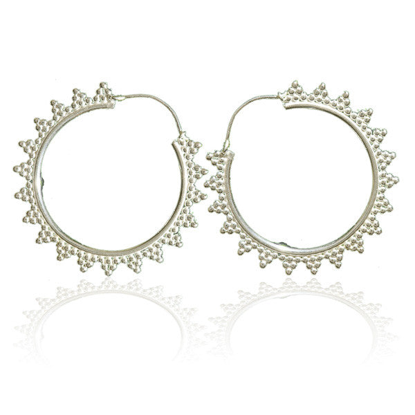 Silver Hoop Earrings with Silver Dots Triangles - Tribu