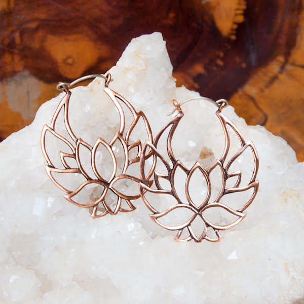 Lotus Copper Hoop Earrings