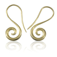 Indian Gold Earrings With Open Spiral - Tribu  - 2