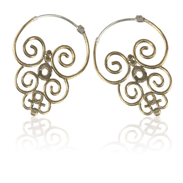Sulawesi Swirling Brass Earrings - Tribu  - 1