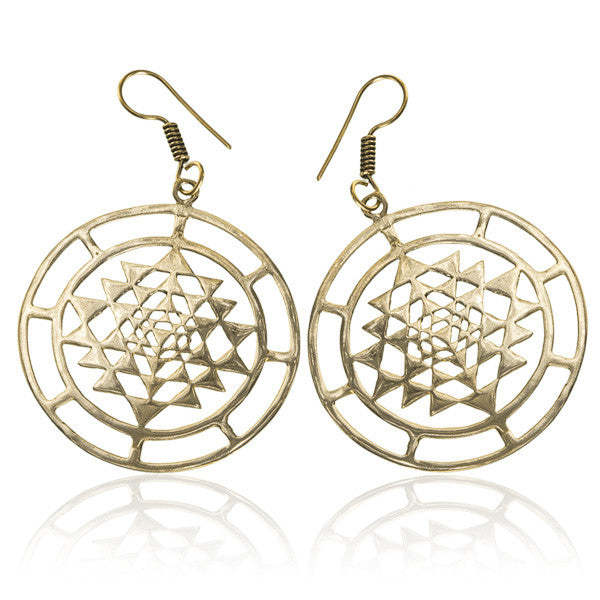 Dangling Sri Yantra Brass Earrings - Tribu