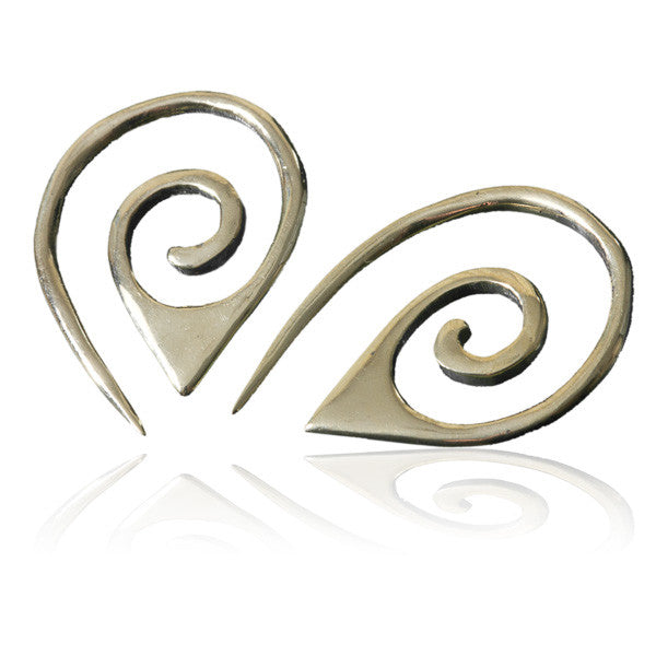 Brass Pointy Spiral Hook Earrings - Tribu