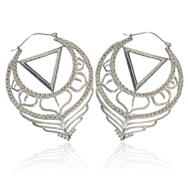 925 Silver Drop Hoops with Engravings - Tribu
