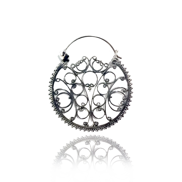 Ornamented Silver Earrings