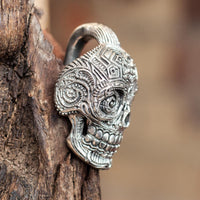 Silver colour Mexican Skull Ear Weights