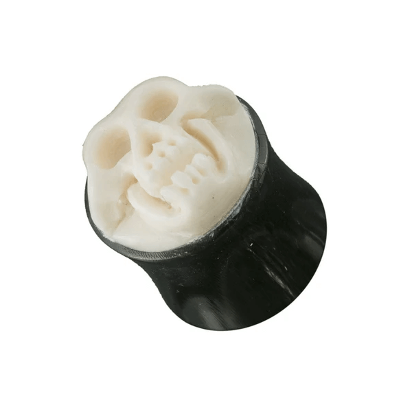Embossed Skull Horn And Bone Plug