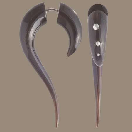Maui Horn Fake Gauge Earring with  Silver Dots - Tribu