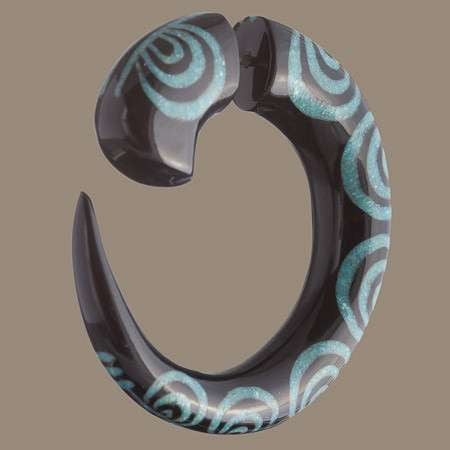 Matau Fake Gauge Earring with Stone Inlay - Tribu  - 1