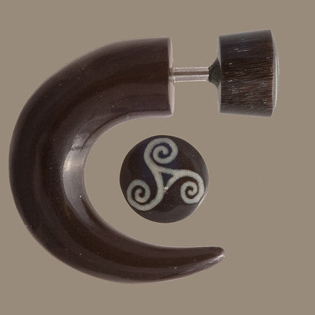 Las Dalias Fake Gauge Earring with Bone Inlaid - Tribu  - 1