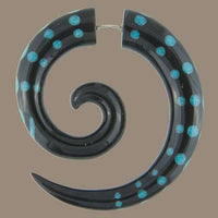 Koru Spiral  Fake Gauge Earring with Stone Dots Inlay - Tribu  - 1