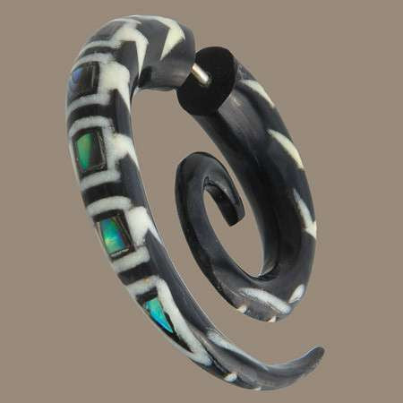 Koru Spiral Fake Gauge Earring with avalone - Tribu