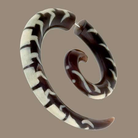 Koru Spiral Centipede Fake Gauge Earring With Bone Inlay - Tribu