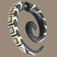 Koru Centipede Spiral Fake Gauge Earring With Mother Of Pearl Inlay - Tribu