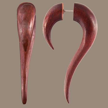 Maui Wood Fake Gauge Earring with Silver Pin - Tribu