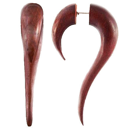 Maui Wood Fake Gauge Earring with Silver Pin