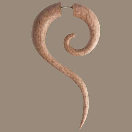 Haku Light Wood Fake Gauge Earring - Tribu